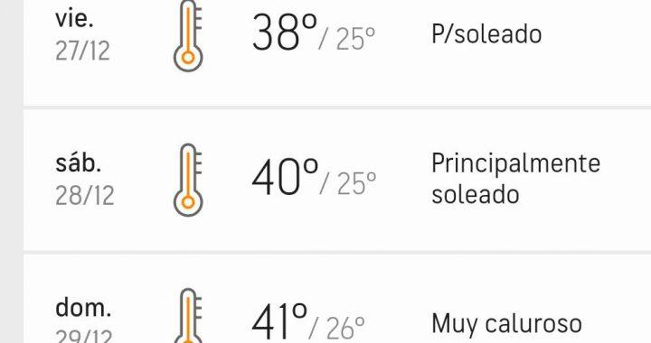 Servicio Metereologico – Alerta por tormentas fuertes para este jueves y dias de mucho calor para terminar el 2019