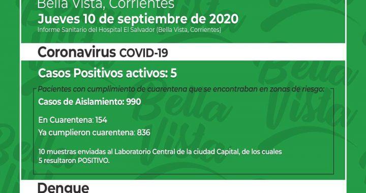 URGENTE: BELLA VISTA TIENE CINCO NUEVOS CASOS DE CORONAVIRUS