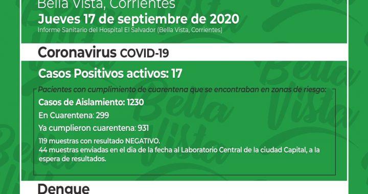 BELLA VISTA SUMA 17 CASOS DE CORONAVIRUS