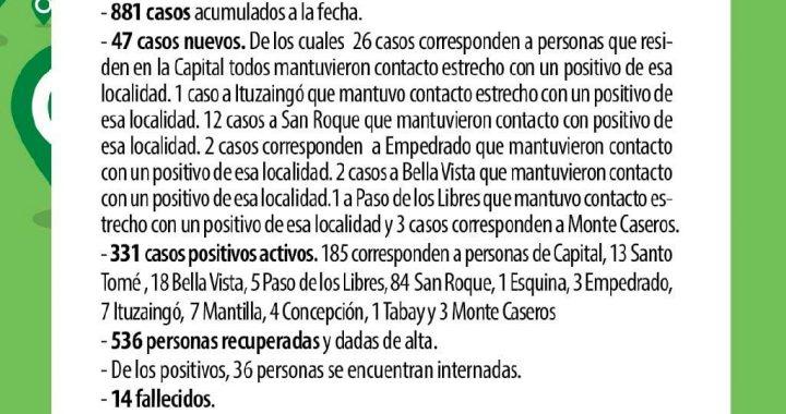 DÍAS COMPLICADOS PARA CORRIENTES: SE REGISTRARON 47 CASOS NUEVOS DE CORONAVIRUS